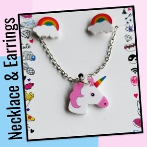 🦄 Unicorn Necklace & 🌈 Rainbow Earrings